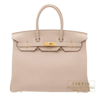 Hermes Birkin bag 35 Argile Clemence leather Gold hardware