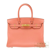 Hermes Birkin bag 30 Crevette Clemence leather Gold hardware
