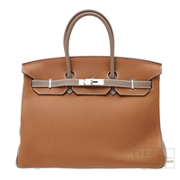 Hermes Personal Birkin bag 35 Gold/Etoupe grey Togo leather Mat Silver  hardware