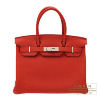 Hermes Birkin bag 30 Vermillon Togo leather Silver hardware