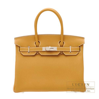 Hermes Birkin bag 30 Natural sable Togo leather Silver hardware