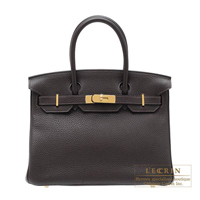 Hermes Birkin bag 30 Ebene Clemence leather Gold hardware