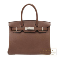 Hermes Birkin bag 30 Brulee Togo leather Silver hardware
