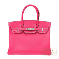 Hermes Birkin bag 30 Rose tyrien Epsom leather Silver hardware
