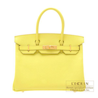 Hermes Birkin bag 30 Soufre Epsom leather Gold hardware