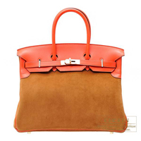 Hermes Birkin bag 35 Capucine/Chamois Swift leather/Grizzly leather Champagne gold
