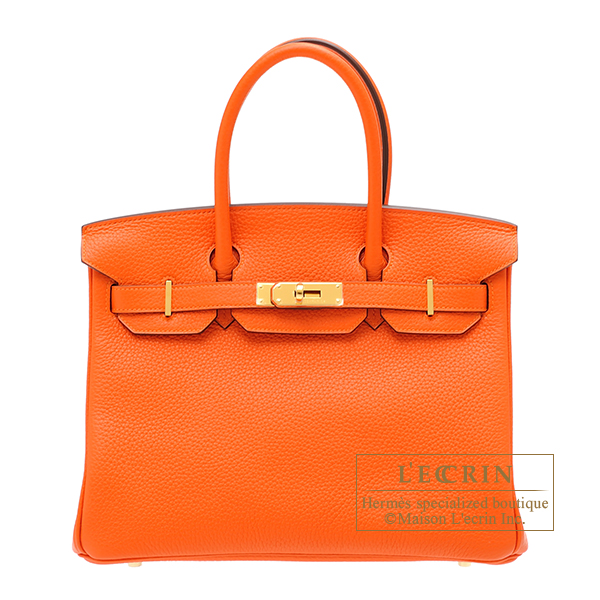 Hermes Birkin bag 30 Feu Clemence leather Gold hardware