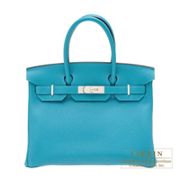 Hermes Birkin bag 30 Turquoise blue Clemence leather Silver hardware