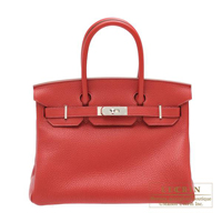 Hermes Birkin bag 30 Rouge garance Clemence leather Silver hardware