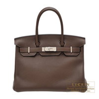 Hermes Birkin bag 30 Cacao Togo leather Silver hardware
