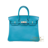 Hermes Birkin bag 25 Turquoise blue Swift leather Silver hardware