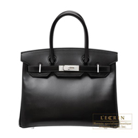 Hermes Birkin bag 30 Black Box calf leather Guilloche hardware