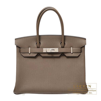 Hermes Birkin bag 30 Taupe grey Togo leather Silver hardware