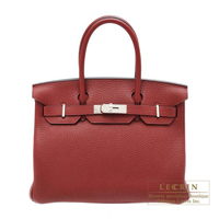 Hermes Birkin bag 30 Rouge H Clemence leather Silver hardware