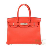 Hermes Birkin bag 30 Rouge pivoine Clemence leather Silver hardware