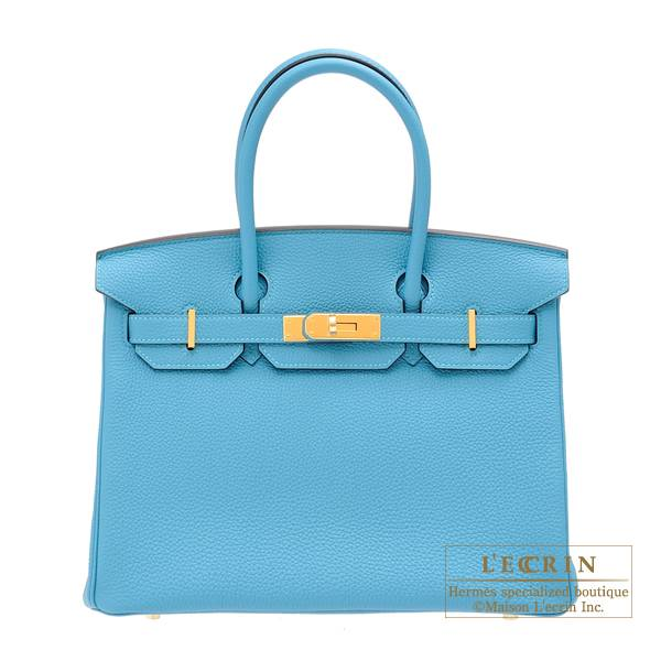 Hermes Birkin bag 30 Turquoise blue Clemence leather Gold hardware