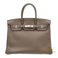 Hermes Birkin bag 35 Taupe grey Clemence leather Silver hardware