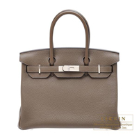 Hermes Birkin bag 30 Taupe grey Clemence leather Silver hardware