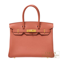 Hermes Birkin bag 30 Rosy Togo leather Gold hardware