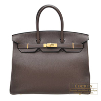Hermes Birkin bag 35 Cacao Clemence leather Gold hardware