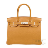 Hermes Birkin bag 30 Natural sable Clemence leather Silver hardware