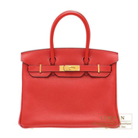 Hermes Birkin bag 30 Rouge casaque Clemence leather Gold hardware