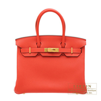 Hermes Birkin bag 30 Rouge pivoine Togo leather Gold hardware