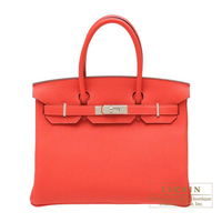 Hermes Birkin bag 30 Rouge pivoine Togo leather Silver hardware