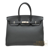 Hermes Birkin bag 35 Plomb Clemence leather Silver hardware