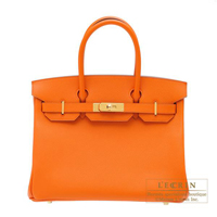 Hermes Birkin bag 30 Orange Epsom leather Gold hardware