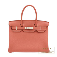 Hermes Birkin bag 30 Rosy Togo leather Silver hardware