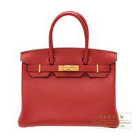 Hermes Birkin bag 30 Rouge garance Clemence leather Gold hardware