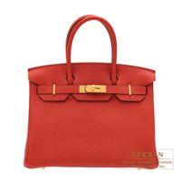 Hermes Birkin bag 30 Vermillon Togo leather Gold hardware