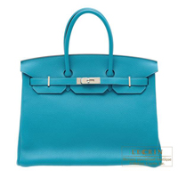 Hermes Birkin bag 35 Turquoise blue Clemence leather Silver hardware