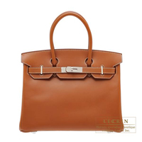 Hermes Birkin bag 30 Fauve Barenia leather Silver hardware