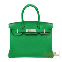 Hermes Birkin bag 30 Bambou Clemence leather Silver hardware