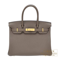 Hermes Birkin bag 30 Taupe grey Togo leather Gold hardware