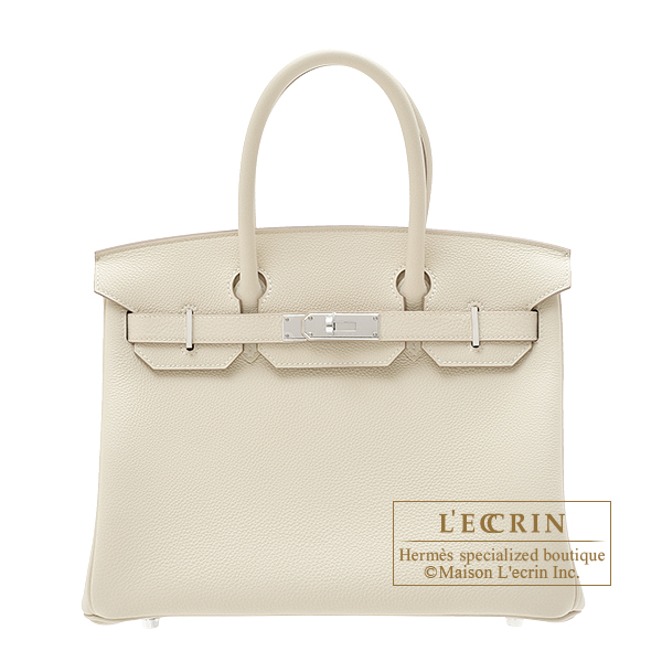 Hermes Birkin bag 30 Craie Togo leather Silver hardware