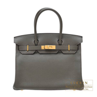 Hermes Birkin bag 30 Vert gris Clemence leather Gold hardware