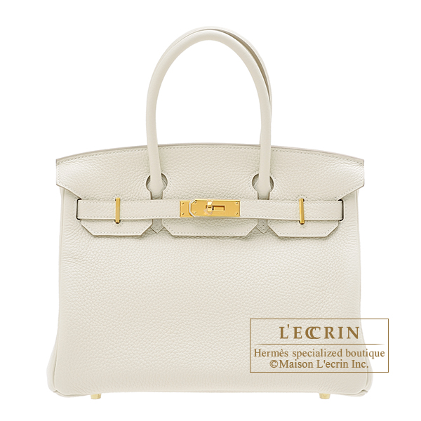 Birkin bag 30 Craie Clemence leather Gold hardware