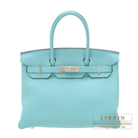 Hermes Birkin bag 30 Blue atoll Togo leather Silver hardware