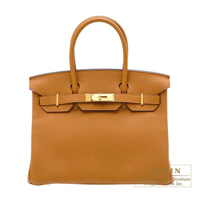 Hermes Birkin bag 30 Caramel Togo leather Gold hardware