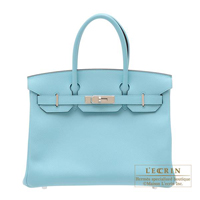 Hermes Birkin bag 30 Blue atoll Epsom leather Silver hardware