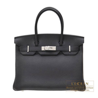 Hermes Birkin bag 30 Prunoir Clemence leather Silver hardware