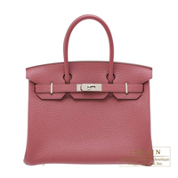 Hermes Birkin bag 30 Bois de rose Fjord leather Silver hardware