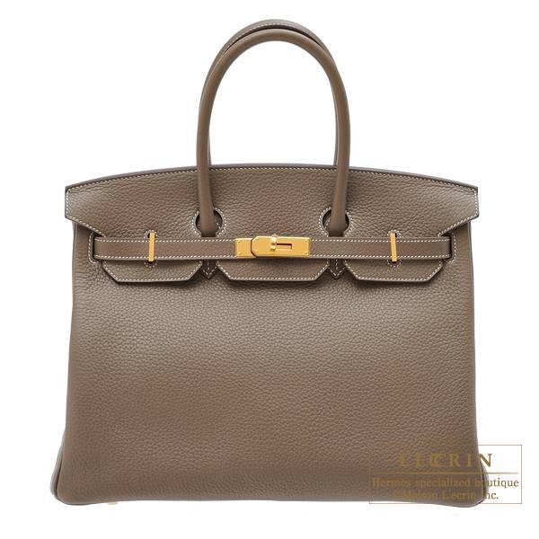Hermes Birkin bag 35 Etoupe grey Clemence leather Gold
