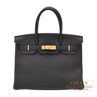 Hermes Birkin bag 30 Prunoir Clemence leather Gold hardware