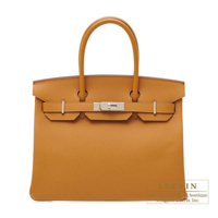 Hermes Birkin bag 30 Caramel Epsom leather Silver hardware