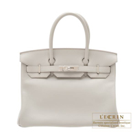 Hermes Birkin bag 30 Pearl grey Swift leather Silver hardware