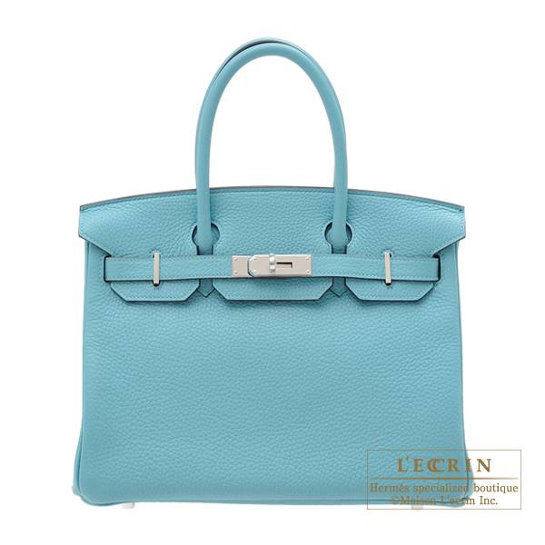 Hermes Birkin bag 30 Blue Saint-Cyr Clemence leather Silver hardware